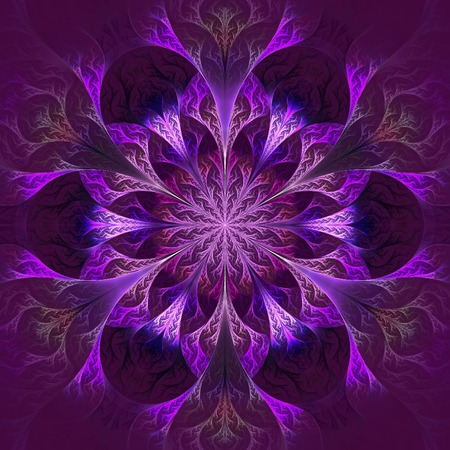 claret: Beautiful fractal flower in purple and claret. Computer generated graphics.