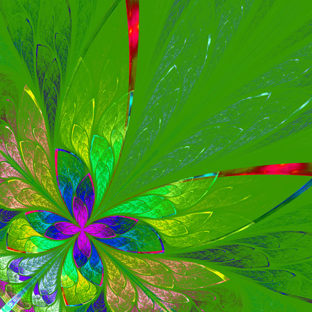 Multicolor fractal flower on green background. Computer generated graphics.