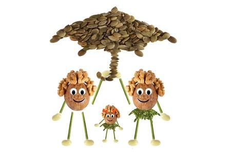 Family nuts under the umbrella photo