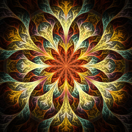 feelers: Beautiful fractal flower in yellow, brown and blue. Computer generated graphics.