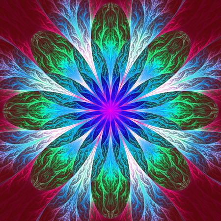 feelers: Multicolor beautiful fractal flower. Computer generated graphics.
