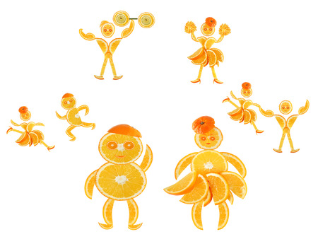imagines: Fat little orange imagines himself a dancer and an athlete Stock Photo