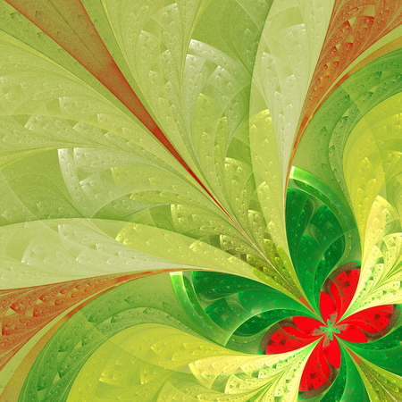 puzzle corners: Beautiful fractal flower in green and red. Computer generated graphics.