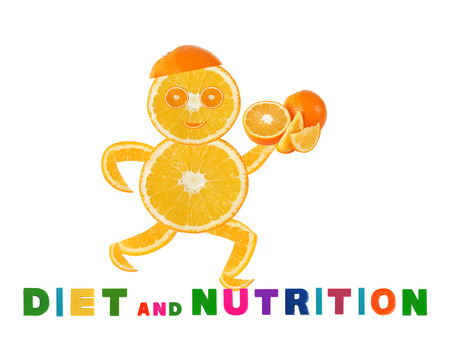 Healthy eating. Funny running little man made of the orange slices  photo