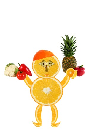 Healthy eating  Funny  little man made of the orange slices  photo