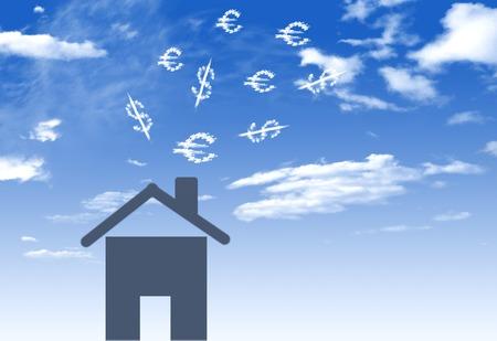 Abbildung des Hauses mit viel Geld Unterschlagung