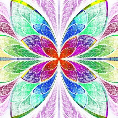 Symmetrical multicolor fractal flower in stained glass style. Computer generated graphics.