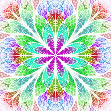 Multicolor beautiful fractal flower. Computer generated graphics. photo