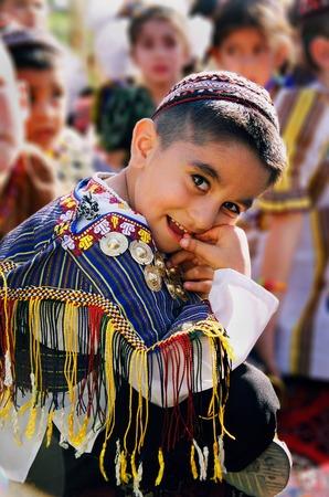Ashgabat, Turkmenistan - August 26   Portrait of  unidentified serious  Asian girl  Oriental bazaar  Ashgabat, Turkmenistan - August 26  2013