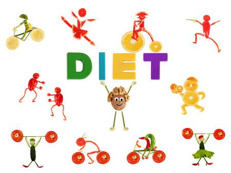 少し面白い人々 の野菜や果物を食べて健康的です 写真素材