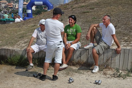 sports and recreation: Marseille  France - August 20  2012   Sports   Recreation  Group of players petanque  Petanque competitions  France  Marseille  Mediterranean coast  August 20  2012 Editorial