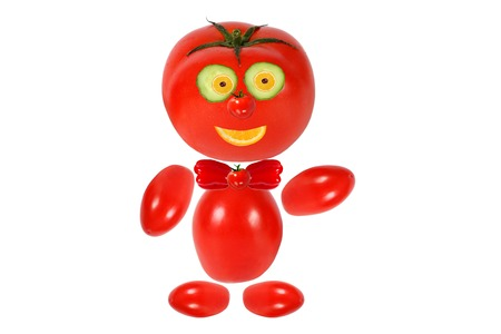 man made: Healthy eating  Funny little man made   of tomatoes
