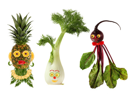 Funny portraits made   from beet , fennel and pineapple photo