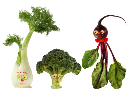 Funny portraits made   from beet, fennel and broccoli photo