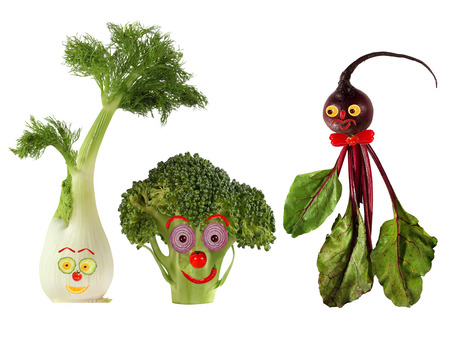 Funny portraits made   from beet , fennel and broccoli photo