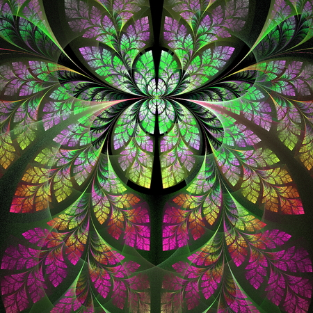 ramification: Fabulous fractal pattern in purple, yellow and green  Collection - tree foliage  Computer generated graphics  Stock Photo