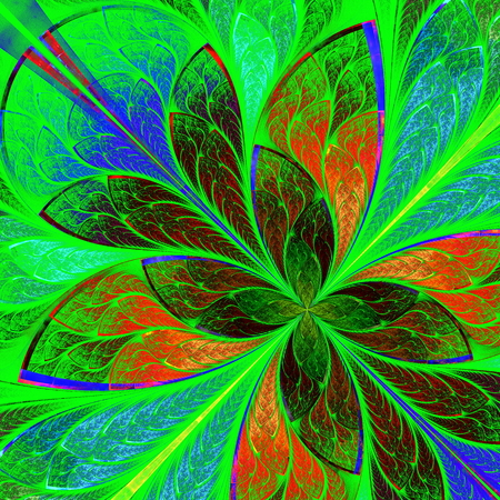 Beautiful multicolor fractal flower in stained glass window style  Computer generated graphics  photo