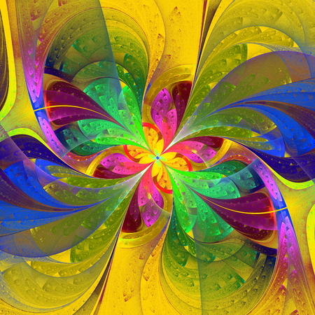 Multicolor beautiful fractal flower on yellow background  Computer generated graphics  photo