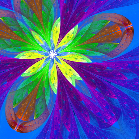 Multicolor beautiful fractal flower in green, purple and blue  Computer generated graphics  photo