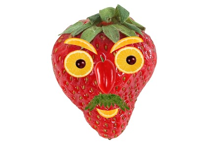 bad banana: Funny portrait of a man made of strawberry and orange