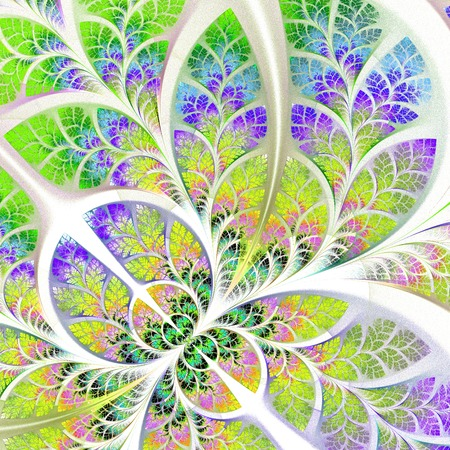 angular: Fabulous fractal pattern in blue, green and yellow  Collection - tree foliage  Computer generated graphics