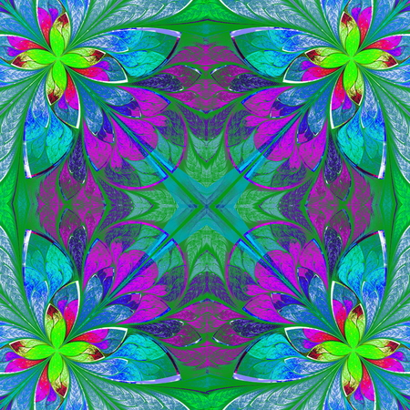 Multicolor beautiful fractal in stained glass window style  Computer generated graphics  photo