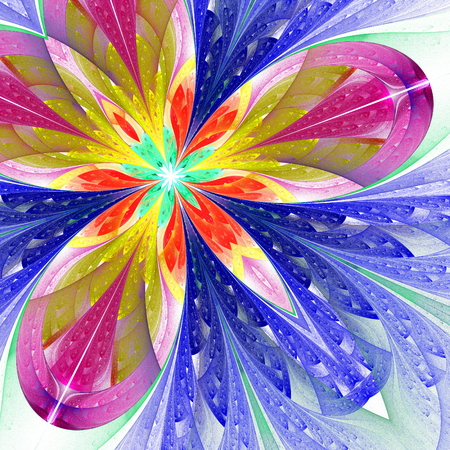 angular: Multicolor beautiful fractal flower in blue, purple and brown  Computer generated graphics