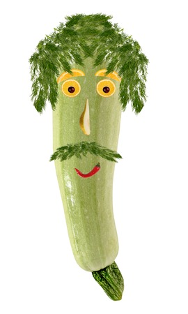 zucchini: Funny portrait made   of zucchini and fruits