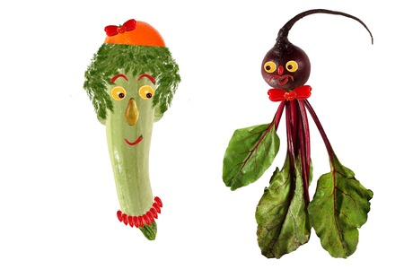 Funny portrait made   of zucchini,  beet  and fruits photo