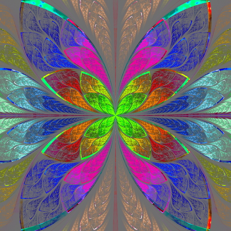 Symmetrical multicolor fractal flower in stained glass style. Computer generated graphics. photo