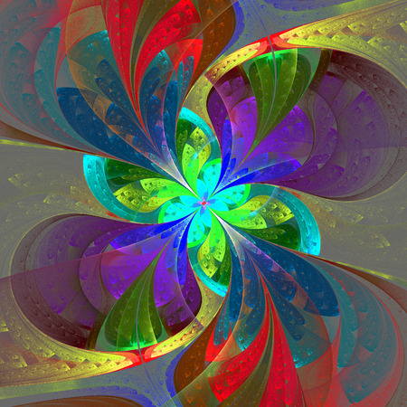 Multicolor beautiful fractal flower on gray background  Computer generated graphics  photo