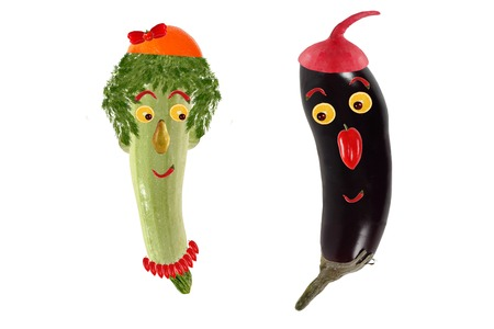 zucchini: Funny portrait made ??of zucchini,  eggplant  and fruits