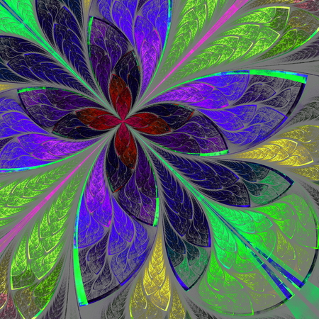 Beautiful multicolor fractal flower in stained glass window style. Computer generated graphics. photo