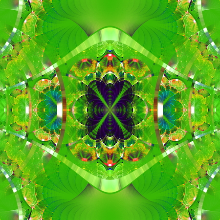 rhinestones: Symmetrical fractal pattern with shiny strips. Collection -  rhinestones. On green background.