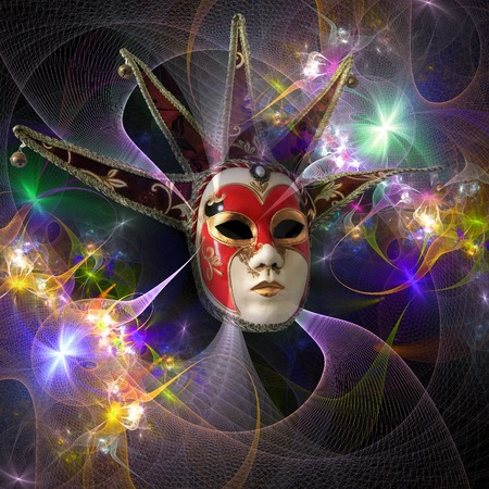 Surreal carnival mask and fractal pattern from a grid and bright glowing lights.