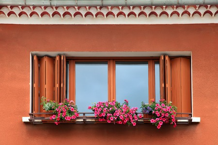 Window box flower arrangement photo