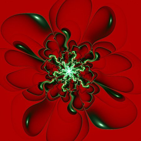claret: Beautiful contour flower on claret background. Computer generated graphics. Stock Photo