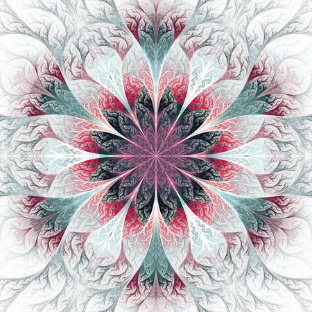 fractal design element or art background: Beautiful fractal flower in gray, pink and blue. Computer generated graphics. Stock Photo