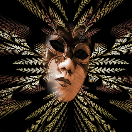 Surreal carnival mask and fractal pattern of the leaves as divergent rays photo