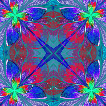 puzzle corners: Multicolor beautiful fractal in stained glass window style. Computer generated graphics.