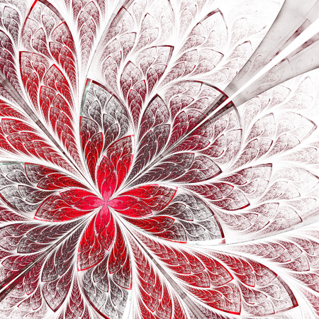 Symmetrical flower pattern in stained-glass window style. Red and white palette photo