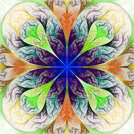 feelers: Beautiful fractal flower in beige, blue and green. Computer generated graphics.