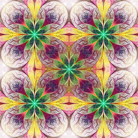 generate: Pattern from fractal flowes in purple, green and yellow. Computer generated graphics.