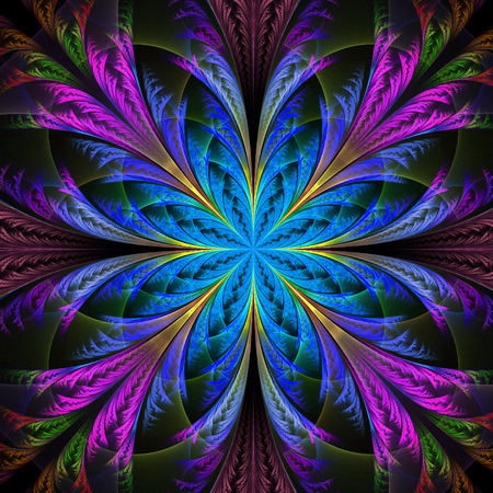 generate: Beautiful multicolor fractal flower. Collection - frosty pattern. Computer generated graphics. Stock Photo