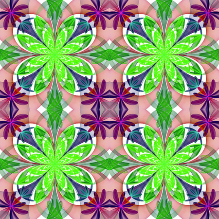 generate: Fabulous symmetrical pattern of the petals. Green and purple palette. Computer generated graphics.