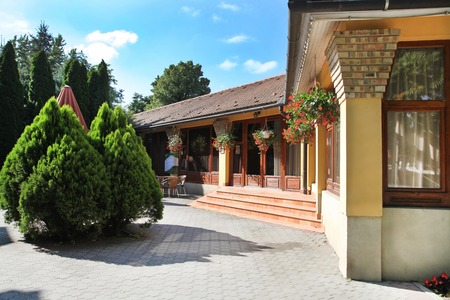 CSENGER, HUNGARY - CIRCA JULY 2014 : Courtyard in Csenger, Hungary circa July 2014. Csenger is a town in Szabolcs-Szatm?r-Bereg county, in the Northern Great Plain region of eastern Hungary.