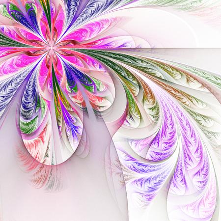 斜め対称多色フラクタル幾何学模様。コレクション - 冷ややかなパターンです。白。