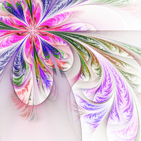 Diagonal symmetric multicolor fractal tracery. Collection - frosty pattern. On white. Standard-Bild