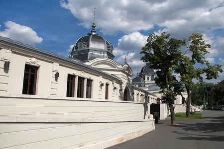 szechenyi: Budapestinfo pont near Heroes Square, Budapest, Hungary. There were former famous Szechenyi (Szechenyi) thermal Baths. Editorial