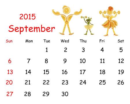 calendar september: 2015 Calendar. September. Little funny people from vegetables and fruits.